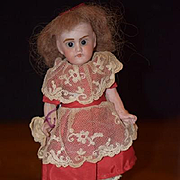 Antique Doll French Bisque Miniature All Bisque Dollhouse Swivel Head