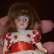 Antique Doll Miniature Bisque Dollhouse Doll Sweet!