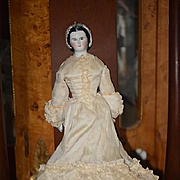 Antique Doll RARE China Head Kestner Grape Lady Porcelain Gorgeous Sculpted Snood