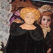 Antique Doll Papier Mache Center Part Flat Top Pretty Doll Paper Mache
