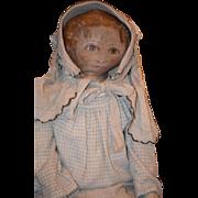Antique Doll Cloth Oil Painted LARGE Unusual Rag Doll Folk Art Dressed