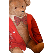 """Old Teddy Bear HUGE Mohair Jointed Dressed 29"""" WONDERFUL Teddy For your Doll"""
