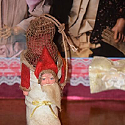 Old Doll Santa Candy Container Stocking Boot Papier Mache Wonderful