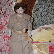 Antique Doll Dollhouse Lady Bisque China Head Miniature Solid Dome