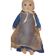 Old Doll Cloth Rag Doll Unusual Style Sewn Features