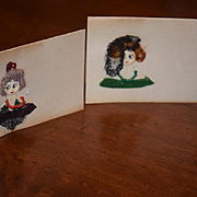 Old Doll Button Face Name Cards Dressed Wonderful Set of Four