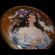 Unusual Hand Held Mirror Porcelain Painted Lady Display