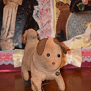 Antique Doll Toy Dog W/ Wood Wheels Button Eyes Cloth Dog Folk Art Primitive Push Toy Pull Toy Small Size