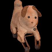 Antique Doll Toy Dog W/ Wood Wheels Button Eyes Cloth Dog Folk Art Primitive Push Toy Pull Toy Small Size