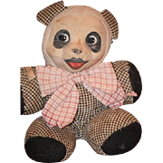 Wonderful Old Doll Toy Cloth Panda Bear Oil Cloth Wonderful Teddy Bear