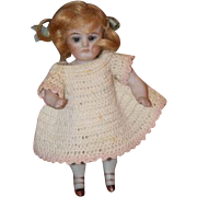 Antique Doll Miniature All Bisque Dollhouse Glass Eyes