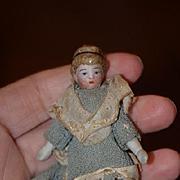 Antique Doll Miniature China Head Ribbon Head Band Dollhouse Bisque Doll