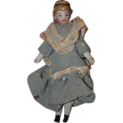 Antique Doll Miniature China Head Ribbon Head Band Dollhouse Bisque Doll