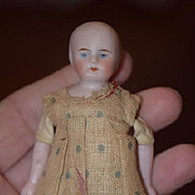 Antique Doll Miniature Bisque Solid Dome Dollhouse Wonderful