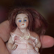 Antique Doll Miniature All Bisque Dollhouse Small Doll Sweet Glass Eyes