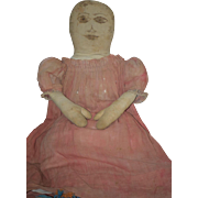 Antique Doll Large Cloth Doll Folk Art Primitive Rag Doll Sweet! Drawn on Features Fab Old Clothes