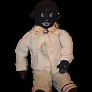 Old Doll Cloth Doll Rag Doll Black Primitive Unusual Character Folk Art