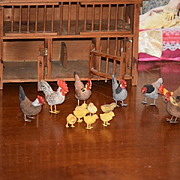 Old Doll Miniature Wood Chicken Coup with Chickens & Chicks Dollhouse Wonderful
