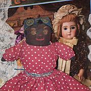 Antique Doll Cloth Doll Rag Doll Topsy Turvy Black Cloth Doll Rag Doll Primitive Folk Art