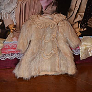 Antique Doll Coat Jacket Mohair Ornate Wonderful Cabinet Size Fancy Doll All Bisque