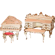 Wonderful Old Speielwaren German Miniature Ornate Dollhouse Furniture SWEET Baby Grand Piano Chest Table Stool