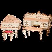 Wonderful Old Speielwaren German Miniature Ornate Dollhouse Furniture SWEET Baby Grand Piano Chest Table Stool