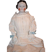 Antique Doll Early Kestner China Head Center Part Smiling 1860's