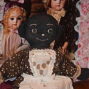 Old Doll Black Cloth Doll Rag Doll Button Eyes Folk Art