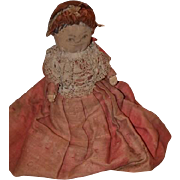Antique Doll Cloth Doll Rag Doll Unusual Small Wood Base Original Old Clothing Primitive Folk Art