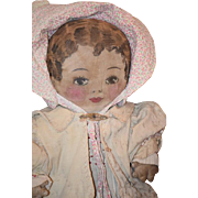 Old Doll Cloth Doll Rag Doll Painted Oil Cloth Wonderfully  Dressed CUTEST FACE