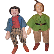 Antique Doll Set Schoenhut Doll Wood Carved Rare Pair of Max & Moritz Original Clothing