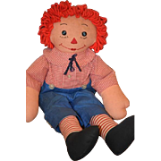 Vintage Doll Raggedy Andy Cloth Doll Button Eyes