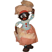 Old Doll Black Painted Wood Face Cloth and Leather