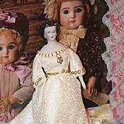 Antique Doll China Head Fancy Rare Hair Style Gorgeous Cabinet Size Molded Necklace Conte & Boehme