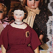 Antique Doll China Head Kestner Gold Painted Snood Gorgeous Netted Mary Todd Lincoln