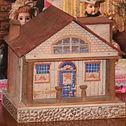 Old Doll Dollhouse Wood & Litho Miniature W/ Porch