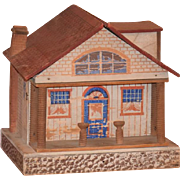 Old Doll Dollhouse Wood & Litho Miniature W/ Porch