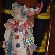 Old Doll Felt Clown Jester Large WONDERFUL Wonderful Cloth Doll Unusual