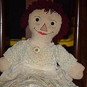 Old Doll Cloth Doll Rag Doll Raggedy Ann Folk Art Large Unusual Button Eyes