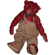 Wonderful Teddy Bear Mohair Artist Red Bear Jointed Signed Leather Tag Sue Lain