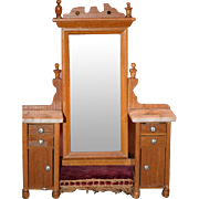 Antique Doll Schneegas Dollhouse Furniture Swivel Mirror Marble Top Cornice Carved Wood Chest