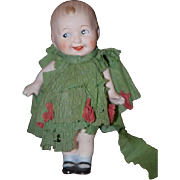 Antique Doll Miniature All Bisque In original Paper Clothes Character Happy Boy!