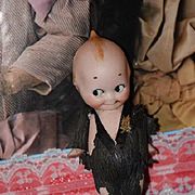 Antique Doll Kewpie in Original Paper Clothes Bisque Rose O'neill