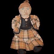 Old Doll Cloth Doll Rag Doll Sewn on Features Unusual Folk Art Primitive