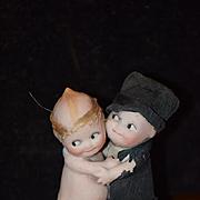 Old Doll Kewpie Bride and Groom Set  WONDERFUL Figurine Bisque