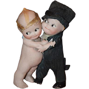 Old Doll Kewpie Bride and Groom Set  WONDERFUL Figurine Bisque