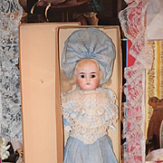 Antique Doll Bisque in Original Old Box w/ Factory Made Clothing