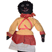 Old Doll Cloth Doll Rag Doll Black Doll Stockinette Sewn Features