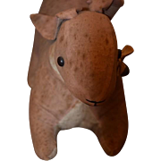 Old Doll Toy Bunny Rabbit Cloth Doll Folk Art Animal Primitive Rattle Mr. Rabbit