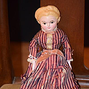 Antique Doll Papier Mache Wax Glass Eyes Fancy Hair Style Pumpkin Head